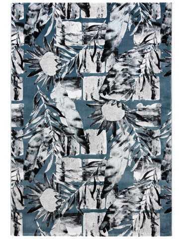 Pianta del tappeto moderno blu grigio