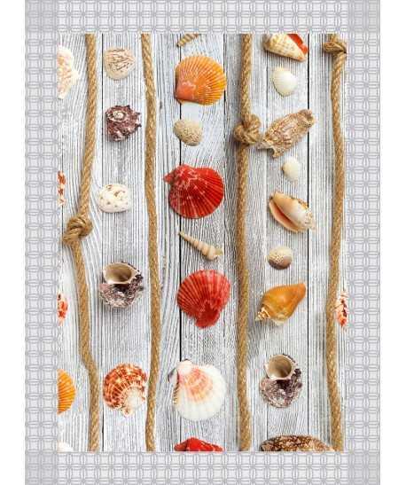 Tappeto Passatoia in vinile con fantasia Estate Bianco